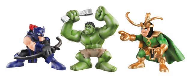 Avengers Super Hero Squad Hawkeye Hulk and Loki